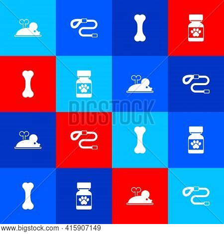 Set Clockwork Mouse, Retractable Cord Leash, Dog Bone And Medicine Bottle And Pills Icon. Vector