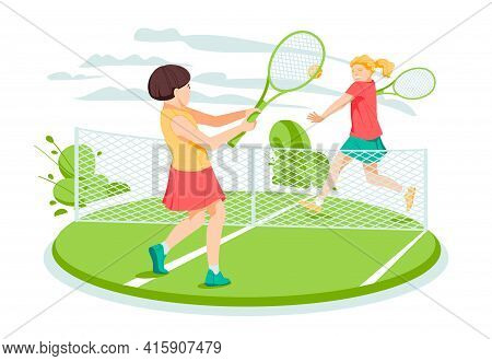 Two Girls Tennis Players At The Tennis Court. Flat Cartoon Vector Illustration.