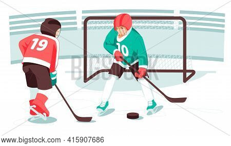 Kids Hockey Players, Hockey Sticks, Pucks, Kids Gates, Sports And Activities. Winter Sport. Ice Hock