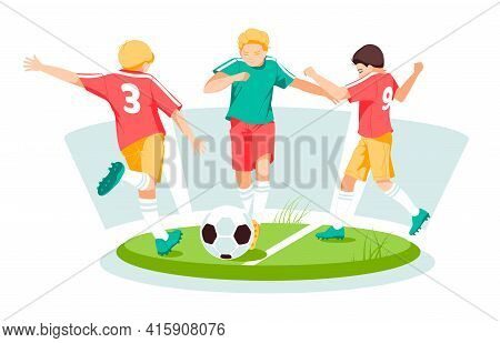 Boys Kids Playing Soccer With Ball On Summer Meadow. Happy Kids Playing Football Sport Game Together