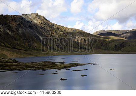 Landmannalaugar / Iceland - August 15, 2017: A Lake Near Landmannalaugar Park, Iceland, Europe