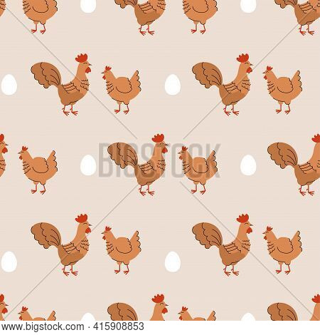 Seamless Pattern With Cute Hens And Roosters. Background With Farm Animals And Birds. Wallpaper, Pac