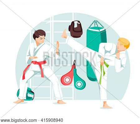 Two Characters Taekwondo, Karate, Kung Fu, Boys In Sparring Position. Martial Arts Training. Flat Ca