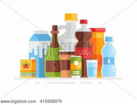 Group Of Beverages. Flat Vector Illustration. Milk, Juice, Soda, Water, Coffee, Wine Isolated On Whi