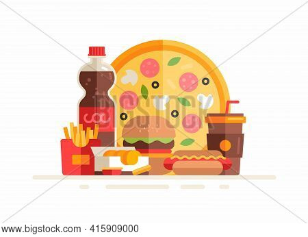 Group Of Fastfood Meals And Beverages. Flat Vector Illustration. Pizza, Fries, Hamburger, Hot Dog, S