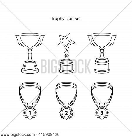 Trophy Icon Set Isolated On White Background. Trophy Icon Trendy And Modern Trophy Symbol For Logo,