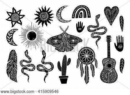 Mystic Boho Celestial Logo Set. Bohemian Symbol In Linocut Graphic Style. Collection Silhouettes Sun