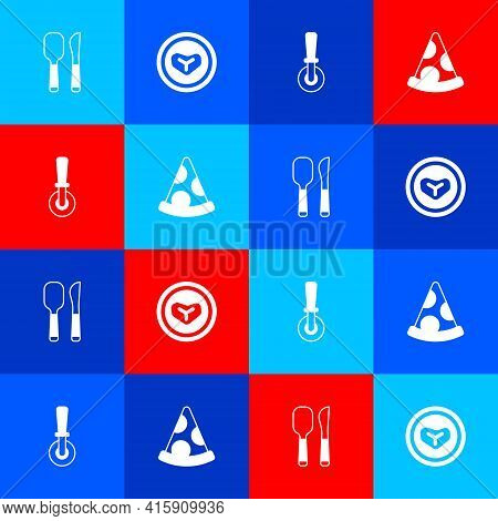 Set Knife And Spoon, Steak Meat Plate, Pizza Knife And Slice Of Pizza Icon. Vector