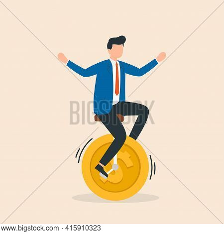 Man Riding A Bicycle With Coins Instead Of Wheels. Concept Of Riding To Success. Vector Illustration