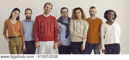 Banner With Group Of Confident Diverse People In Comfortable Casual Wear Standing In Studio