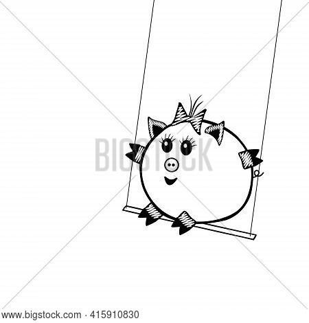 Black Vector Piggy Fat Girl Swinging On A Swing On A White Background For Coloring Book For Children