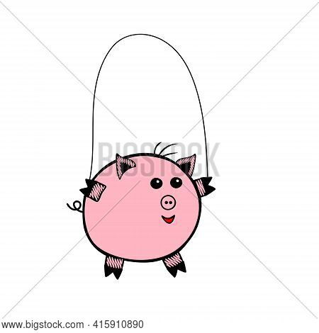 Pink Vector Piggy Fat Boy Jumping Rope On A White Background
