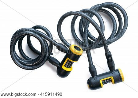 Two Yellow And Black Bike Locks With Code To Unlock Isolated On A White Background. Numbers. Coded.