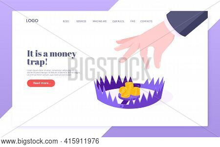 Money Trap Business Concept Flat Style Design Vector Illustration Isolated On White Background. Huma
