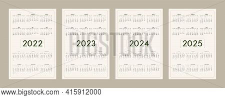 2022 2023 2024 2025 Calendar Template Set In Minimalist Trendy Eco Style, Pastel Beige Olive Natural