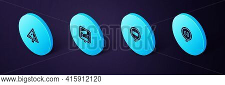 Set Isometric Speed Limit Traffic, Stop Sign, Drawbridge Ahead And Warning Road Icon. Vector