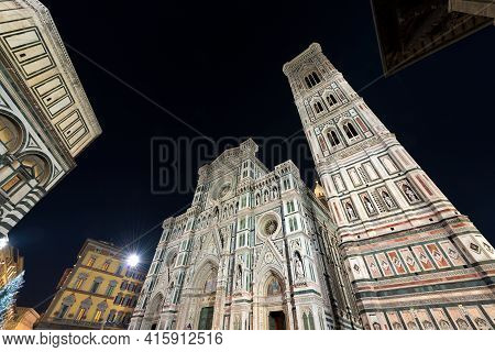 Facade Of Florence Cathedral At Night, Duomo Of Santa Maria Del Fiore And Bell Tower Of Giotto (camp