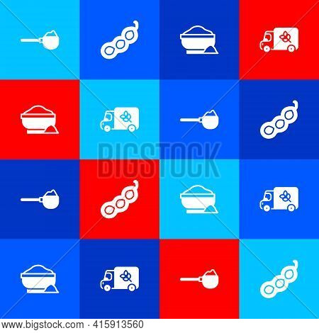Set Measuring Cup With Flour, Green Peas, Flour Bowl And Truck Icon. Vector