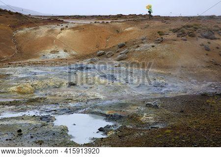 Krisuvik / Iceland - August 15, 2017: Geothermal Manifestations In Krisuvik Geothermal Area, Iceland