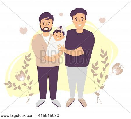 Male Gay Couple Adopting Baby. Two Happy Men Holding New Born Child. Vector Illustration. Happy Lgbt