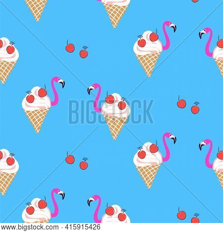 Seamless Flamingo Icecream Cherry Bird Pattern. Summer Blue Background