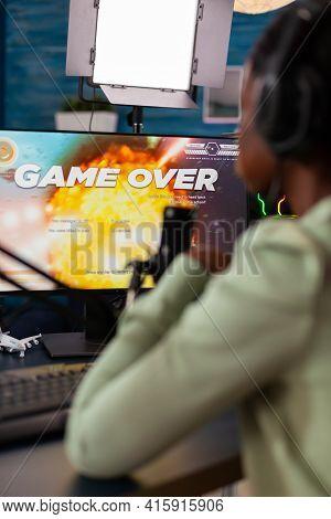 Black Esports Streamer With Headphones Losing Championship