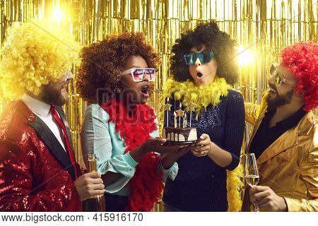 Cheerful Multi-racial Friends With Champagne Having Fun At Birthday Party