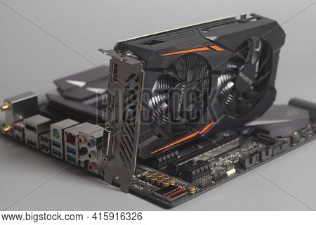 Moscow, Russia April 07,2021 Graphic Video Card Gigabyte Geforce Gtx 1050 Ti On The Motherboard