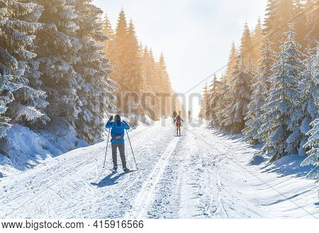 Cross-country Skiing On Sunny Winter Day. Skiers On Cross-country Trail In Natural Landscape Of Jize