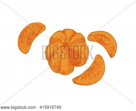 Peeled Tangerine With Mandarin Segments Or Slices. Composition Of Clementine Pieces Without Skin. Re