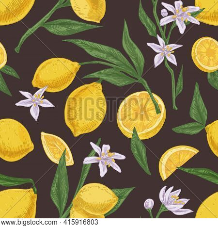 Seamless Citric Pattern With Fruits, Leaves And Branches Of Blooming Lemon Tree On Dark Background.