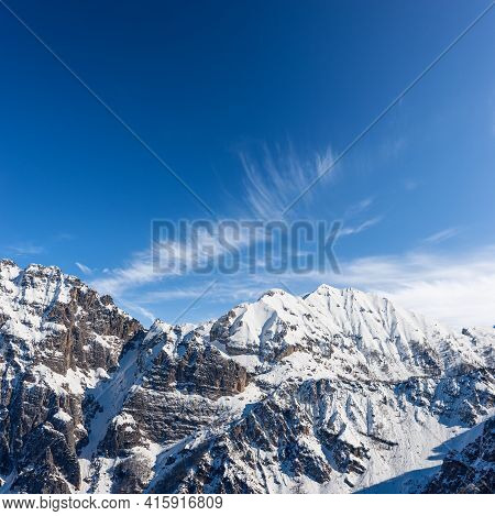Snow Capped Mountain Range Of Monte Carega, Also Called The Small Dolomites (piccole Dolomiti) From