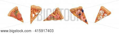 Set Of Different Pizza Slices Or Pieces With Pepperoni, Salami, Mushrooms, Champignons, Mozzarella A