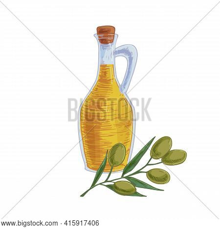 Composition Of Transparent Glass Pitcher Full Of Fresh Extra Virgin Olive Oil And Tree Branch With F
