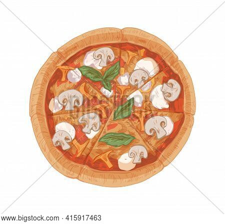 Top View Of Mushroom Pizza With Champignons, Chanterelles, Mozzarella Cheese, Sauce, Basil Leaves An