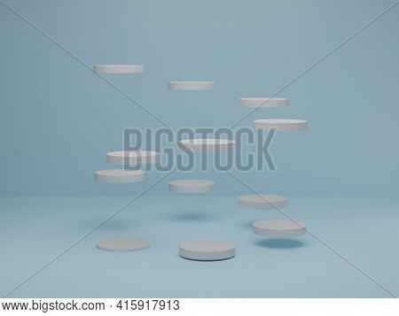 Minimal Scene With White Cylinder Podium On Blue Pastel Background. Abstract Scene With Geometrical