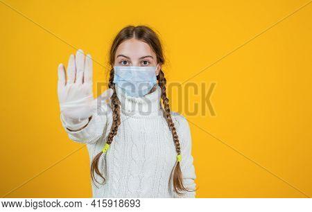 Stop The Coronavirus. Girl Need Igg Immunity Test. Virus Pneumonia. Patient Child Wearing Respirator