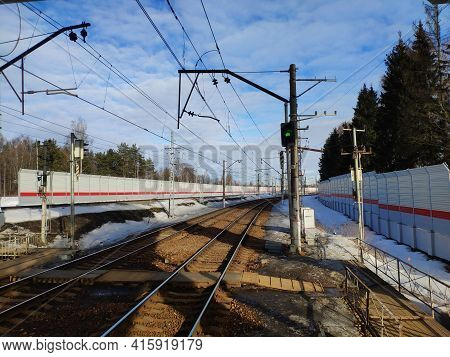 Green Signal On The Semaphore On The Railway. Mechanical Signalling Device For Trains