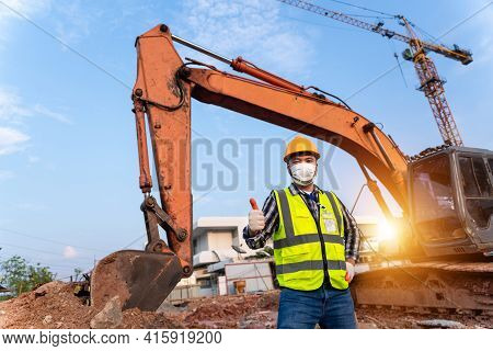 Haapy Foreman Construction Excavator, Engineer Or Worker Backhoe Driver And Crane Wearing A Safety S