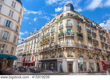 Facade of Parisian building, France