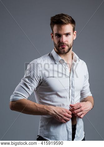 Undress Me. Fashion And Beauty. Barbershop Concept. Mens Wear. Confident Businessman. Young Handsome