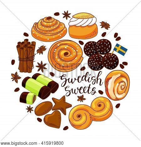 A Set Of Swedish Sweets On A White Isolated Background.lettering. Vector Cartoon Illustration