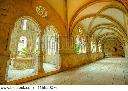 Alcobaca, Portugal - August 15, 2017: Pentagonal Fountain In Cloister Of Silence, The Largest Mediae