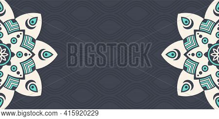 Horizontal Mandalas Banner. Decorative Flower Mandalas Background With Place For Text. Colorful Abst