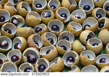 The Shell And The Bone From The Thai Fruit Longan. Longan Peel Shell And Grain Background. Exotic Fr