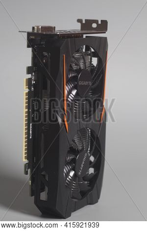 Moscow, Russia April 07,2021 Graphic Video Card Gigabyte Geforce Gtx 1050 Ti