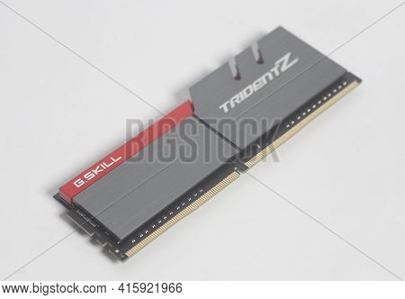 Moscow, Russia April 07,2021 High Performance Ddr4 Computer Memory Ram G.skill Trident Z