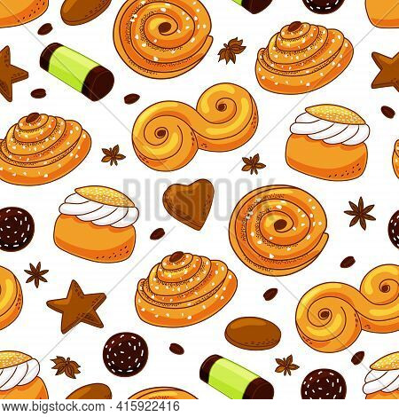 Swedish Sweets Seamless Pattern For Background, Wrap, Fabric, Textile, Wrap, Surface, Web And Print