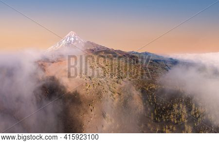 Landscape With  Teide Mountain In The Teide National Park, Tenerife, Canary Islands, Spain
