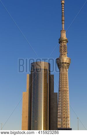 Tokyo, Japan, January 4: Tokyo Skytree In Tokyo With Sunset, Japan 2013. The Skytree Is The World's